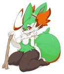 alternate_color anthro blush braixbraix braixen breasts canine edit eyewear featureless_breasts female fox fur glasses green_fur hi_res inner_ear_fluff looking_at_viewer mammal navel nintendo pokémon red_eyes shopped side_boob simple_background sitting slugbox solo stick thick_thighs video_games white_background wide_hips
