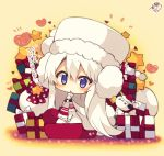 >_< 1girl :< azur_lane bangs beige_background blush box cape character_request chibi dress earmuffs eyebrows_visible_through_hair fur-trimmed_cape fur-trimmed_hat fur-trimmed_sleeves fur_trim gift gift_box hair_between_eyes hat heart long_hair long_sleeves looking_at_viewer muuran parted_lips purple_eyes red_hat sack santa_hat signature snowman solo star triangle_mouth very_long_hair white_cape white_dress white_hair white_hat