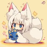 +_+ 1girl :< animal_ears azur_lane bangs beige_background blue_eyes blush cat_mask chibi eyebrows_visible_through_hair fox_ears fox_girl fox_tail full_body heart highres holding holding_mask japanese_clothes kaga_(azur_lane) kimono long_sleeves mask mask_removed multiple_tails muuran parted_lips signature sleeves_past_fingers sleeves_past_wrists solo sparkle tail translation_request triangle_mouth two_tails white_hair white_kimono