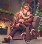 1boy 1girl :d black_footwear black_gloves black_legwear boots box brown_eyes brown_hair christmas christmas_tree clarisse_(granblue_fantasy) couple curtains eyes_closed fire fireplace fur-trimmed_boots fur-trimmed_gloves fur-trimmed_pants fur_trim gift gift_box gloves gran_(granblue_fantasy) granblue_fantasy hat hetero high_heel_boots high_heels highres hug long_hair midriff night on_chair open_mouth orange_hair santa_hat sidelocks sitting sitting_on_lap sitting_on_person smile subacchi_(subarya) thighhighs window