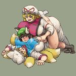 3girls animal_ears between_breasts blonde_hair blush breast_grab breast_smother breasts brown_eyes brown_hair cat_ears chanta_(ayatakaoisii) chen dogpile dress fox_ears fox_tail grabbing hat hat_ribbon head_between_breasts huge_breasts jewelry long_hair lying mob_cap multiple_girls multiple_tails on_back open_mouth pillow_hat purple_dress purple_eyes ribbon short_hair simple_background single_earring sweatdrop tabard tail touhou wavy_mouth yakumo_ran yakumo_yukari yuri