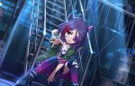 1girl belt boots brown_eyes building cable chains choker drum_(container) eyebrows_visible_through_hair eyepatch frills green_jacket hair_between_eyes hayasaka_mirei horns idolmaster idolmaster_cinderella_girls jacket looking_at_viewer moonlight multicolored_hair night official_art over-kneehighs plaid plaid_skirt purple_hair red_hair shirt skirt skull sparkle stairs t-shirt thighhighs tongue tongue_out torn_clothes torn_legwear two-tone_hair