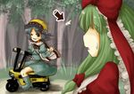 2girls arrow blue_hair blurry depth_of_field dress green_hair hair_ribbon helmet kagiyama_hina kawashiro_nitori moped multiple_girls ribbon tikano touhou tree waving