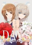 artist_name back-to-back bangs blue_eyes bouquet brown_eyes brown_hair chains character_name closed_mouth copyright_name cover cover_page doujin_cover dress emilio_(tetsukazu_no_ao) english flower formal girls_und_panzer grey_background half-closed_eyes highres holding holding_bouquet itsumi_erika lily_(flower) lips long_hair looking_at_viewer looking_back nishizumi_miho plant purple_dress red_dress red_flower red_rose rose short_hair silver_hair sleeveless sleeveless_dress smile standing star symmetrical_pose translation_request vines white_flower yellow_flower yellow_rose