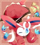 artist_name baggy_clothes blue_eyes blue_sclera border bow commentary cosplay creatures_(company) game_freak gen_6_pokemon japanese_clothes kimono leaning_forward miracle_mallet needle nintendo one_eye_closed patterned_clothing paws pink_background pokemon pokemon_(creature) prehensile_ribbon purpleninfy ribbon simple_background sukuna_shinmyoumaru sukuna_shinmyoumaru_(cosplay) sword sylveon tail touhou weapon