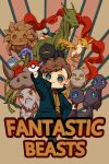 1boy absurdres augurey billywig bird bowtruckle brown_background brown_hair chibi copyright_name crossover demiguise diricawl erumpent fangs fantastic_beasts_and_where_to_find_them feathered_wings freckles fur_trim green_eyes highres kelpie leaf mooncalf newt_scamander niffler occamy poke_ball solo thunderbird_(fantastic_beast) wings yellow_eyes zouwu