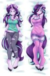 2018 ambris anthro anthrofied blue_eyes body_pillow bracelet breasts cleavage clothed clothing dakimakura_design eeyelashes equine female friendship_is_magic hair horn jewelry legwear lying mammal my_little_pony nightgown on_back panties pillow purple_hair solo starlight_glimmer_(mlp) stockings underwear unicorn