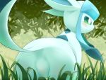 3sthrees all_fours alternate_version_at_source blue_body blue_eyes blue_fur blush butt ears_back eeveelution featureless_crotch female fur glaceon grass hi_res leaf long_ears nintendo pokémon pokémon_(species) presenting presenting_hindquarters raised_tail rear_view snout solo tail_aside video_games