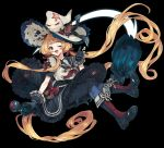 1girl :d absurdly_long_hair absurdres black_background black_gloves black_ribbon black_sailor_collar black_skirt blonde_hair blue_pants boots broom broom_riding character_request copyright_request full_body gloves hair_ribbon hat hat_ornament highres long_hair looking_at_viewer low_twintails lunch_(lunchicken) neckerchief one_eye_closed open_mouth pants red_eyes red_neckwear red_ribbon ribbon sailor_collar school_uniform serafuku shirt simple_background skirt smile solo tentacle twintails very_long_hair white_hat white_shirt witch witch_hat