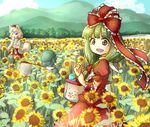 3girls animal_ears bag beige_hair blue_hair blue_sky bow butterfly_net cabbie_hat cloud day detached_sleeves eating field flower flower_field food forest green_hair hair_bow hair_ribbon hand_net hat ice_cream inubashiri_momiji kagiyama_hina kawashiro_nitori long_hair mountain multiple_girls nature open_mouth pom_pom_(clothes) red_shirt red_skirt ribbon shirt short_hair skirt sky sleeveless sleeveless_shirt smile stream tail tikano tokin_hat touhou tree two_side_up white_shirt wolf_ears wolf_tail
