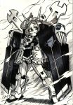1girl alex_ahad bags_under_eyes bangs bloody_marie_(skullgirls) clenched_hands crossbone_gundam crossbone_gundam_x-1 crossover fin_funnels frills full_body fusion gundam hair_ornament highres horns maid_headdress marker_(medium) mecha_musume monochrome parted_bangs pauldrons pun serious signature skull_hair_ornament skullgirls solo standing traditional_media twintails