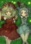 2girls blush grass happy kagiyama_hina kawashiro_nitori lying multiple_girls on_back tikano touhou