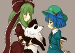 2girls behind_back dog kagiyama_hina kawashiro_nitori multiple_girls paint paintbrush tikano touhou