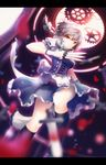 1girl apron blurry braid corset dagger dress dutch_angle gloves highres izayoi_sakuya kneehighs lancefate letterboxed looking_at_viewer maid_headdress parted_lips puffy_sleeves red_eyes ribbon short_hair short_sleeves silver_hair solo touhou twin_braids waist_apron weapon white_gloves