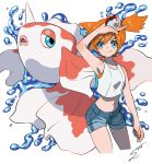 1girl blue_eyes blush creatures_(company) cropped_legs eyebrows_visible_through_hair game_freak gen_1_pokemon goldeen gym_leader highres holding holding_poke_ball kasumi_(pokemon) midriff navel nintendo orange_hair poke_ball pokemon pokemon_(creature) pokemon_(game) pokemon_lgpe short_hair shorts side_ponytail signature smile solo sumomo tank_top water