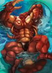 abs anthro arthropod belly biceps big_biceps claws clothed clothing crustacean detailed_background echin floating hi_res high-angle_view lobster lying male manly marine mature_male muscular muscular_male one_eye_closed pecs relaxing shell solo spikes spread_legs spreading thong topless water yellow_eyes