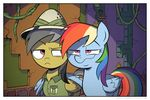 clothed clothing daring_do_(mlp) detailed_background duo equine eyebrows eyelashes feathered_wings feathers feral friendship_is_magic grey_hair hair hat inside mammal multicolored_hair my_little_pony nude pegasus pink_eyes rainbow_dash_(mlp) rainbow_hair smug standing wandrevieira1994 wings