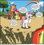apple_bloom_(mlp) barrel bow cutie_mark day detailed_background earth_pony english_text equine eyes_closed female friendship_is_magic green_eyes group hooves horn horse mammal my_little_pony nude open_mouth outside paint pegasus pony rainbow rainbow_water red_paint ridged_horn scootaloo_(mlp) sky standing sweetie_belle_(mlp) text tongue tree unicorn wandrevieira1994 wings young