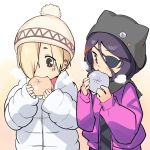 2girls asymmetrical_hair baozi beanie black_scarf blonde_hair blush breath brown_eyes commentary_request ear_piercing earrings eating eyepatch food gahaku gradient gradient_background hair_between_eyes hair_over_one_eye hat hayasaka_mirei idolmaster idolmaster_cinderella_girls jacket jewelry long_sleeves looking_down multiple_girls piercing pink_jacket scarf shirasaka_koume short_eyebrows simple_background sleeves_past_wrists stud_earrings unzipped white_coat zipper