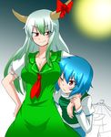 2girls ;( arm_garter blue_hair blue_vest blush breast_smother breasts cleavage collarbone cowboy_shot dress ex-keine full_moon green_dress green_hair heterochromia horn_ribbon horns juliet_sleeves kamishirasawa_keine karakasa_obake katsumi5o large_breasts long_hair long_sleeves looking_at_another moon multicolored_hair multiple_girls neckerchief puffy_sleeves red_eyes ribbon short_hair short_sleeves sidelocks smile sweat tatara_kogasa touhou two-tone_hair umbrella white_hair