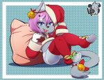 armwear blue_eyes blue_fur cat child christmas clothing cub feline female fur hat holidays legwear looking_at_viewer lpawz mammal pillow santa_hat simple_background solo stockings tongue tongue_out young