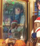 3others abo_(kawatasyunnnosukesabu) animal animal_ears bag bangs bird black_hair blue_mittens blue_scarf bow brown_footwear brown_gloves cat_ears christmas_ornaments city_lights clothed_animal coat commentary_request ferris_wheel food_themed_hair_ornament gloves hair_ornament hair_over_one_eye hairclip half_updo hat highres holding long_hair mittens multiple_others night orange_hair original polka_dot polka_dot_scarf red_eyes santa_hat scarf shopping_bag shoulder_bag smile snowflakes strawberry_hair_ornament train_interior window