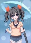 1girl alternate_hairstyle black_hair blue_eyes blush_stickers burn_scar cowboy_shot denim denim_shorts dorei_to_no_seikatsu_~teaching_feeling~ hair_ribbon holding holding_umbrella looking_at_viewer open_mouth puffy_short_sleeves puffy_sleeves rain ribbon scar short_shorts short_sleeves shorts sidelocks solo sylvie_(dorei_to_no_seikatsu) takahiko twintails umbrella water_drop