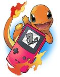 artist_request blue_eyes charmander creatures_(company) fire flame game_boy game_freak gen_1_pokemon handheld_game_console holding looking_at_viewer nintendo no_humans pixelated pokemon pokemon_(creature) pokemon_(game) pokemon_rgby screen simple_background source_request white_background