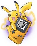 artist_request creatures_(company) electricity game_boy game_freak gen_1_pokemon handheld_game_console looking_at_viewer nintendo no_humans open_mouth pikachu pixelated pokemon pokemon_(game) pokemon_rgby screen simple_background source_request sparks white_background yellow_eyes