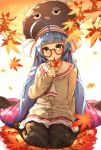 1girl ahoge autumn_leaves bangs beige_cardigan buttons cardigan closed_mouth commentary_request eel_hat eyebrows_visible_through_hair eyes_visible_through_hair glasses green_eyes hair_spread_out hand_up head_tilt highres holding holding_leaf huge_ahoge leaf light_blue_hair long_hair long_sleeves looking_at_viewer miniskirt no_shoes otomachi_una plaid plaid_legwear pleated_skirt raised_eyebrows rerrere sailor_collar school_uniform semi-rimless_eyewear sitting skirt smile soles solo under-rim_eyewear very_long_hair voiceroid wariza white_neckwear white_sailor_collar white_skirt