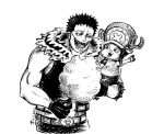 2boys artist_request charlotte_katakuri food multiple_boys one_piece smile source_request tony_tony_chopper