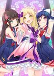 3girls armpits banned_artist black_hair blonde_hair blue_eyes blue_hair blush braid clenched_hand earrings french_braid frilled_skirt frills hand_on_another's_hip japanese_clothes jewelry kurosawa_dia long_hair looking_at_viewer love_live! love_live!_sunshine!! matsuura_kanan mijuku_dreamer mirai_(macharge) multiple_girls ohara_mari open_mouth outstretched_arm ponytail single_glove single_thighhigh skirt smile thighhighs yellow_eyes