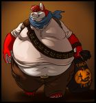 anthro barefoot belly belly_overhang big_belly canine chubby_cheeks claws clothed clothing cosplay dog fur grin halloween hi_res holding_object holidays husky male mammal midriff moobs navel neodokuro obese obese_male orange_background overweight overweight_male red_fur scarf shez simple_background smile solo teeth thick_thighs toe_claws uncharted video_games walking wide_hips