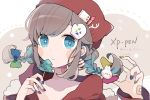 +_+ 1girl animal_ears animal_hat bangs beanie blue_eyes blue_nails blush_stickers bow braid bunny_hair_ornament candy cat_ears cat_hat chon_(chon33v) christmas commentary_request eyebrows_visible_through_hair fingernails food green_nails hair_between_eyes hair_bow hair_ornament hat highres holding holding_food holding_lollipop hood hood_down hooded_jacket jacket lollipop long_hair long_sleeves looking_at_viewer low_twintails multicolored multicolored_nails nail_polish original parted_lips portrait purple_nails red_hat red_jacket solo transparent twin_braids twintails yellow_nails