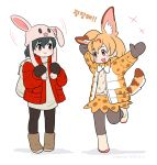 +++ 2girls :d adapted_costume alternate_headwear animal_ear_fluff animal_ears animal_hat arms_up backpack bag black_eyes black_hair black_legwear blonde_hair boots bow bowtie bunny_hat coat commentary_request eyebrows_visible_through_hair fang full_body hat kaban_(kemono_friends) kemono_friends korean korean_commentary mittens multiple_girls open_mouth orange_eyes outstretched_arms pantyhose print_coat print_neckwear print_skirt red_coat roonhee serval_(kemono_friends) serval_ears serval_print serval_tail short_hair simple_background skirt smile standing standing_on_one_leg tail translation_request white_background