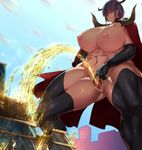 1girl abs breasts cape demon_girl demon_horns elbow_gloves giantess gloves highres horns large_breasts navel nipples nude original pee peeing pussy sekiyu_(spartan) spread_legs thighhighs toned