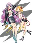 2girls ;o black_footwear black_jacket black_shorts black_skirt blonde_hair blue_footwear breasts cleavage freyja_wion green_eyes hair_ornament hair_scrunchie hand_behind_head high_heels highlights highres holding holding_microphone jacket jewelry long_hair long_sleeves looking_at_viewer macross macross_delta microphone mikumo_guynemer miniskirt multicolored_hair multiple_girls necklace one_eye_closed one_side_up open_clothes open_jacket parted_lips pencil_skirt purple_hair red_eyes red_scrunchie scrunchie shimatani_azu shirt short_hair short_shorts shorts sketch skirt very_long_hair white_background