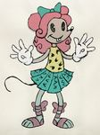 buckteeth clothing female gloves hair hair_bow hair_ribbon humanoid mammal monster_high mouscedes_king mouse pink_hair ribbons rodent simple_background skirt solo teeth toony unknown_artist