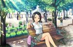 1girl artist_request belt bench bicycle black_hair brown_eyes crossed_legs faceless faceless_female faceless_male ground_vehicle idolmaster idolmaster_cinderella_girls idolmaster_cinderella_girls_starlight_stage official_art park_bench shirt short_hair skirt solo tougou_ai tree white_shirt