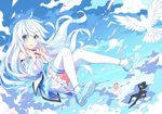 1boy 2girls absurdres artist_request bird blue_eyes detached_sleeves dove floating_hair highres kuuki_shoujo long_hair looking_at_viewer mary_janes multiple_girls open_mouth shoes skirt sky solo the_personfication_of_atmosphere thighhighs white_hair
