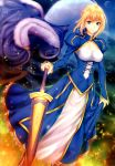 1girl absurdres ahoge arm_at_side artoria_pendragon_(all) bangs blonde_hair blue_dress blue_eyes braid breasts cape cape_removed cleavage cleavage_cutout closed_mouth corset covered_nipples detached_sleeves dress excalibur eyebrows_visible_through_hair eyelashes fate/stay_night fate_(series) french_braid full_moon fur-trimmed_cape fur_trim grass green_eyes hair_between_eyes hair_bun hair_ribbon hand_on_hilt highres holding holding_sword holding_weapon juliet_sleeves light_particles long_sleeves looking_at_viewer medium_breasts moon night night_sky outdoors puffy_long_sleeves puffy_sleeves ribbon saber scan shiny shiny_hair sidelocks skirt_hold sky smile solo standing star_(sky) starry_sky sword weapon zucchini