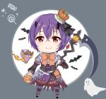 1girl 319thie bat chibi closed_mouth crown halloween highres looking_at_viewer princess_connect! princess_connect!_re:dive pumpkin purple_hair red scythe smile