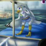 2015 3_toes anklet anthro avian beak biped bird bird_feet black_beak black_claws black_feathers black_stripes black_tail black_wings blue_eyes boat breasts cheek_tuft chest_tuft claws clothed clothing digital_drawing_(artwork) digital_media_(artwork) eyeliner feather_tuft feathered_wings feathers female front_view full-length_portrait hairband hi_res jewelry leaning leaning_forward lighting luka_(minesaehiromu) makeup medium_breasts multicolored_feathers naturally_censored necklace nipple_tuft non-mammal_breasts open_beak open_mouth open_smile pheonixbat pier pink_tongue portrait rainbow_necklace rainbow_symbol raised_arm red_eyeliner ring-billed_gull sea seagull seashell seaside shadow skirt sky smile solo standing striped_beak stripes tail_feathers talons toe_claws toes tongue topless tuft two_tone_beak two_tone_feathers two_tone_tail two_tone_wings vehicle water webbed_feet white_feathers white_tail white_wings wings yellow_beak