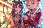 2girls absurdres bag blonde_hair blurry blurry_background bow brown_bow brown_coat brown_hair brown_scarf cellphone closed_mouth coat coffee_cup commentary_request cup depth_of_field disposable_cup duffel_coat earrings ereshkigal_(fate/grand_order) fate/grand_order fate_(series) fingernails fringe_trim hair_bow head_tilt highres holding holding_cellphone holding_cup holding_phone hoop_earrings ishtar_(fate/grand_order) jewelry junpaku_karen long_hair multiple_girls open_mouth paper_bag phone pixiv_id plaid plaid_scarf red_bow red_coat red_eyes scarf shopping_bag smile tiara two_side_up upper_body very_long_hair