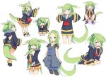 1girl animal_ears blue_eyes character_sheet done_(donezumi) female green_hair original simple_background sleeves_past_wrists solo squatting symbol-shaped_pupils tail white_background
