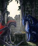 aaros_(artist) ambiguous_gender blue_eyes blue_scales chess claws curved_horn day detailed_background digitigrade dragon duo feral grey_scales horn inside membranous_wings nude scales sitting wings