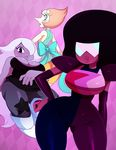 alien amethyst_(steven_universe) breasts cartoon_network cleavage clothed clothing eyewear garnet_(steven_universe) gem_(species) hair hair_over_eye pearl_(steven_universe) purple_skin ribbons slightly_chubby species(alien) sssonic2 steven_universe sunglasses thick_thighs