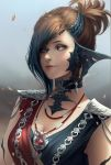 1girl au_ra blurry blurry_background braid breasts brown_hair choker chuby_mi cleavage close-up dragon_horns face facing_viewer final_fantasy final_fantasy_xiv heterochromia highres horns jewelry leaf lips medium_breasts multicolored_hair necklace pendant portrait scales short_hair sleeveless smile solo two-tone_hair wind