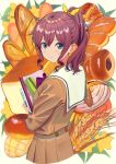 1girl baguette bang_dream! bangs belt blue_eyes blush book bread brown_hair brown_shirt brown_skirt closed_mouth commentary_request croissant cropped_torso eyebrows_visible_through_hair flower food hair_between_eyes hair_ribbon holding holding_book leaf long_hair long_sleeves looking_at_viewer looking_back pencil_case poligon_(046) ponytail ribbon sailor_collar school_uniform shirt sidelocks skirt solo wavy_hair white_sailor_collar yamabuki_saaya yellow_flower yellow_ribbon