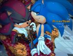 anthro blue_body bracelet c2ndy2c1d chair clothed clothing collar detailed_background digital_media_(artwork) duo english_text eulipotyphlan footwear gloves gold_(metal) gold_necklace green_eyes hedgehog jewelry leash male male/male mammal necklace petplay red_eyes roleplay shadow_the_hedgehog shoes sitting smile sonic_(series) sonic_the_hedgehog straddling text throne uniform